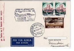 6 - CARTOLINA POSTALE - VOLO POSTALE SUPERSONICO VERONA - RAMSTEIN - 6. 1946-.. Republic