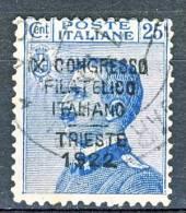 Regno 1922 - 9° Congresso Filatelico, N. 125, C.25 Azzurro Sovrastampato, Usato, Firmato Wolf Cat. € 300 - 1900-44 Vittorio Emanuele III