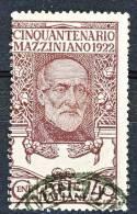 Regno 1922, Cinquantenario Mazzini, N. 129, C. 40 Violetto Bruno, Usato Cat. € 55 - 1900-44 Vittorio Emanuele III