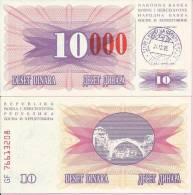 PAPER MONEY - UNC - OVERPRINT (red Zeroes) - 10 / 10 000 DIN, Travnik 24.12.1993, Bosnia And Herzegovina - Bosnia And Herzegovina