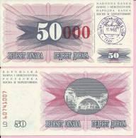 PAPER MONEY - UNC - OVERPRINT (red Zeroes) - 50 / 50 000 DIN, Travnik 15.10.1993, Bosnia And Herzegovina - Bosnia And Herzegovina