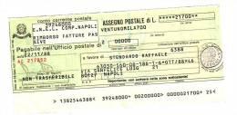 Assegno Postale ENEL In Lire, Non Incassato 1988 - Monete & Banconote