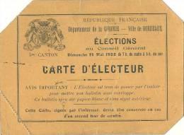 - Carte D'électeur Elections Conseil Général  GIRONDE - BORDEAUX - 1922 Plis Marqués - Sonstige