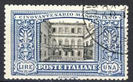 Regno VE3, Manzoni, SS 28, N. 155 Lire 1 Azzurro E Nero, Molto Ben Centrato, Usato, Firmato Biondi Cat. € 1200 - 1900-44 Vittorio Emanuele III