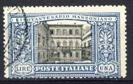 Regno 1923, Manzoni, SS 28, N. 155 Lire 1 Azzurro E Nero, Usato Cat. € 1200 - 1900-44 Vittorio Emanuele III