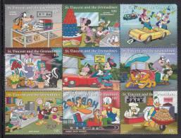 St. Vincent MNH Scott #2247 Block Of 9 10c Disney Characters As Merchants - Disney