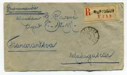 Lettre Recommandée  : RUFISQUE / SENEGAL : 21 Dec 1930 Pour Madagascar / Superbe Affranchissement Au Verso
