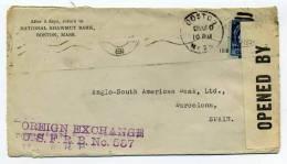 Lettre CENSUREE De La NATIONAL SHAWMUT BANK / BOSTON - USA / 1919 / Pour BARCELONA SPAIN / PASSED BY CENSOR 675 - Etats-Unis