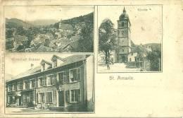 68 CPA Saint Amarin Cafe Restaurant Nopper Animation Eglise Grand Cachet 68 ALP ? - Saint Amarin