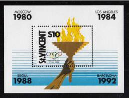 St. Vincent MNH Scott #1120 Souvenir Sheet $10 Olympic Torch - 1988 Summer Olympics - St.Vincent (1979-...)