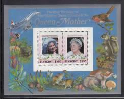 St. Vincent MNH Scott #866 Souvenir Sheet Of 2 $3.50 Queen Mother´s 85th Birthday - St.Vincent (1979-...)