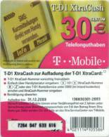 Prepaidcard Deutschland - XtraCash - T D1 - 30 € - Viereck - T Mobile - 12/03