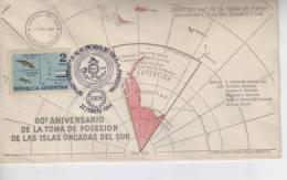 60º ANIVERSARIO DE LA TOMA DE POSESION DE LAS ISLAS ORCADAS DEL SUR  MATASELLO SPECIAL COVER ARGENTINA  OHL - Poolfilatelie