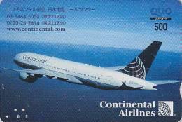 Carte Prépayée Japon - AVION CONTINENTAL AIRLINES / USA - Airplane Airline Japan Prepaid Card - Flugzeug Quo Karte - 390 - Airplanes