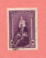 AUS SC #178  1938 King George VI, Coronation Robe  W/nibbed Perf @ L CV $20.00 - Used Stamps
