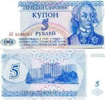 Russia-ex-USSR Trandestria- Moldova - 5 Rouble- A. Suvorov 2004 Y   UNC - Russie