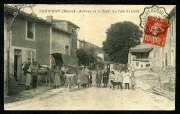 55 - SAUVIGNY - TRÈS RARE - LE CAFÉ BERGER Avenue De La Gare - ANIMÉE - Otros Municipios