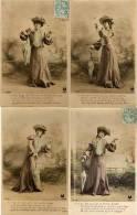 4 CPA - Femme Et Parapluie    (54152) - Femmes