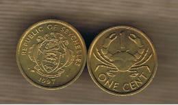 SEYCHELLES - 1 Cent 1997 SC  KM46.2 - Mud Crab - Animal Coin - Seychelles
