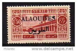 Alaouïtes N° 28a Neuf * - Surcharge Noire - Cote 32€