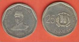 DOMINICAN REP 25 PESOS 2008 XF BUST OF GENERAL PUPERON - Dominicaine