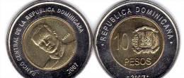 10 Pesos DOMINICAN REPUBLIC 2007 COIN Unc - Dominicaine