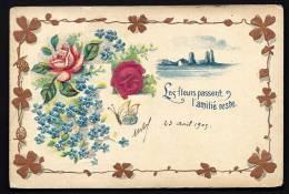 CPA PRECURSEUR- FRANCE- CARTE FANTAISIE GAUFRÉE 1900- FLEURS- PAPILLON- CADRE TREFLES - Fantaisies