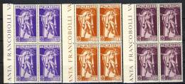 Regno VE3, SS 1501 Centenario Ferrucci, N. A18-A20 MNH, Quartine Bordo Di Foglio, Fresche E Splendide Cat. € 325 - 1900-44 Victor Emmanuel III.