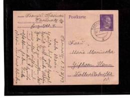 DE3  -   GERMANY  POSTAL HISTORY  -  POSTKARTE    TARNOWITZ  ( Now Poland )    2.4.1943 - Allemagne