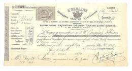 Reçu, L'Urbaine (Cie D'Assurances) - Paris (75) - 1890 - Allemagne