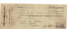 Lettre Change - 1907 - ALLIOT Cabas En Paille BEYNAT Corrèze Pour SARLAT Dordogne - Timbre Fiscal - Letras De Cambio
