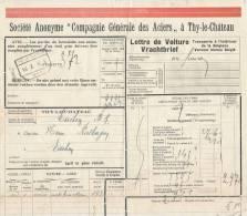 778/20 - Lettre De Voiture Cachet Gare THY LE CHATEAU 1926 Vers ESSCHEN - Entete Cie Générale Des Aciers - Zonder Classificatie