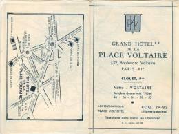 METROPOLITAIN DE PARIS (Plan Du Réseau, Offert Par Le Grand Hôtel De La Place Voltaire En 1952) - Europe
