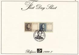 First Day Sheet : F.D.S. Journée Du Timbre. 150 Ans De Timbres Poste Belges. - Postdocumenten
