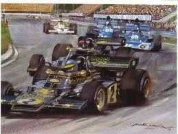 Swedish Grand Prix - 1973 - Ronnie Peterson - John Player Special  - Michael Turner Artwork -   Postcard - Grand Prix / F1