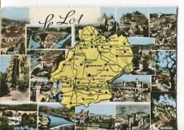 CPSM Format Actuel : Carte Géographique Du LOT Avec 16 Petites Multi-vues De Différentes Villes De Ce Département - France