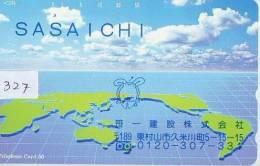 Télécarte Japon ESPACE (327) MAP * 110-144 *  GLOBE * SATELLITE * MAPPEMONDE * Telefonkarte Phonecard JAPAN * TERRESTRE - Ruimtevaart