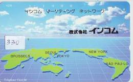 Télécarte Japon ESPACE (330) MAP * 110-144 *  GLOBE * SATELLITE * MAPPEMONDE * Telefonkarte Phonecard JAPAN * TERRESTRE - Espacio