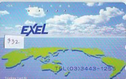 Télécarte Japon ESPACE (332) MAP * 110-144 *  GLOBE * SATELLITE * MAPPEMONDE * Telefonkarte Phonecard JAPAN * TERRESTRE - Ruimtevaart