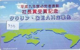 Télécarte Japon ESPACE (333) MAP * 110-144 *  GLOBE * SATELLITE * MAPPEMONDE * Telefonkarte Phonecard JAPAN * TERRESTRE - Espace