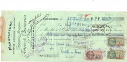 Lettre Change 582  - 1929 - Forge Chainerie Du Centre COMMENTRY Allier Pour Pouilly En Auxois Côte D´Or - Timbre  Fiscal - Lettres De Change