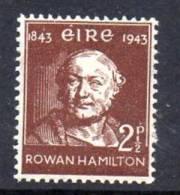 Ireland 1943 Sir William Rowan Hamilton 2½d Value, MNH - 1937-1949 Éire