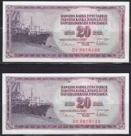 Yugoslavia 1978 2 Banknotes Of 20 Dinars - Jugoslawien