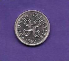 FINLAND 1960,   Circulated Coin XF, 5 MARKKAA, Nickel Plated  KM37a, C90.161 - Finland