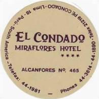 PERU LIMA EL CONDADO MIRAFLORES HOTEL VINTAGE LUGGAGE LABEL - Hotel Labels