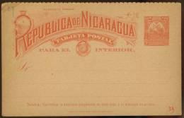 NICARAGUA 2 CENTAVOS CARTA TARJETA, POST CARD, UNUSED. TOP RIGHT CORNER FOLDED. - Nicaragua