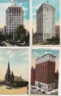 4 X OLD CARD DETROIT - Building  - Send To Belgium - Detroit