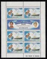 St. Vincent MNH Scott #631, #632 Sheet Of 7 $4 Royal Wedding - Charles And Diana - Familles Royales