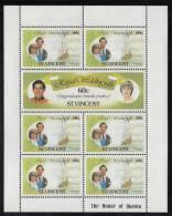 St. Vincent MNH Scott #627, #628 Sheet Of 7 60c Royal Wedding - Charles And Diana - St.Vincent (1979-...)