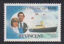St. Vincent MNH Scott #631 $4 Royal Wedding - Charles And Diana - St.Vincent (1979-...)